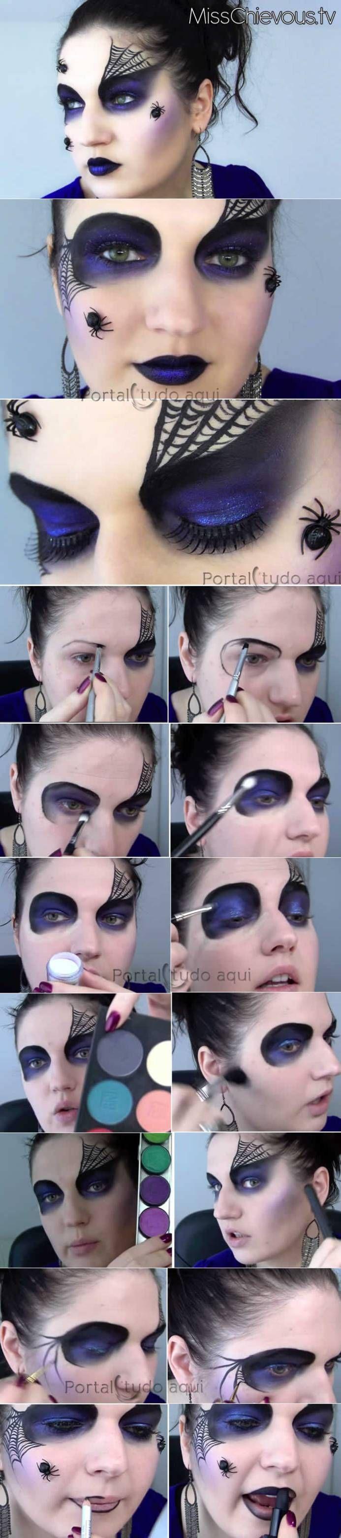 Aprenda a fazer uma maquiagem Aranha Negra, com passo-a-passo completo para você ficar linda em qualquer festa à fantasia ou halloween!