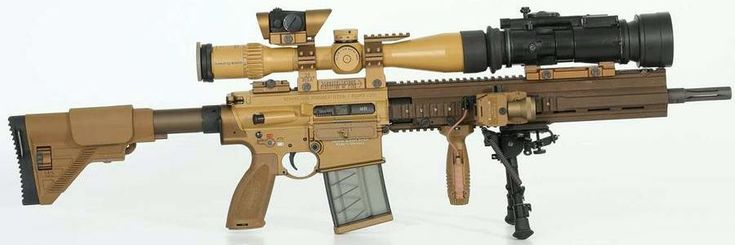 """HK G28 designated marksman / sniper rifle in """"standard"""" configuration with optional otoelectronic night vision adapter"""