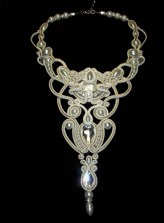 White soutache necklace with premium crystals and glass pearls. Long, bulky, but very light and airy. Beautifully shines in the evening light. The necklace is perfectly combined with the wedding dress and evening dress!)) FREE SHIPPING! Thank you for visiting my store