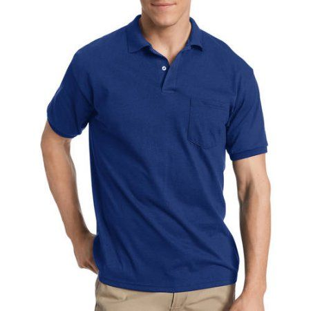 Hanes Big & Tall Mens EcoSmart Soft Jersey Fabric Polo Shirt with Pocket, Men's, Size: 4XL, Blue