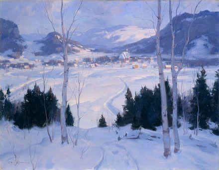 """""""Au pays du ski, Saint-Sauveur-des-Monts,"""" Éric Riordon, ca. 1943, oil on canvas, 20 x 26"""", Musée national des beaux-arts du Québec."""