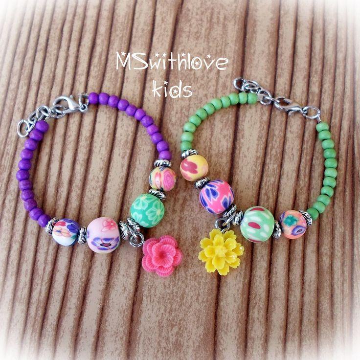 Boho kids bracelet, Flower children bracelet, Polymer clay kids bracelet…