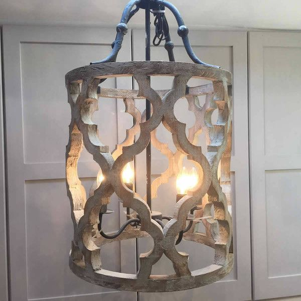 Ikat Design Carved Wooden 4 Light Lantern Pendant With Metal Detail Representing Great Value For Money This Lightly Distressed