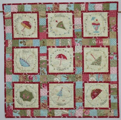 Showers of Blessing wall quilt consists of nine blocks, each featuring a blessing for which we can be thankful. Val Laird Designs