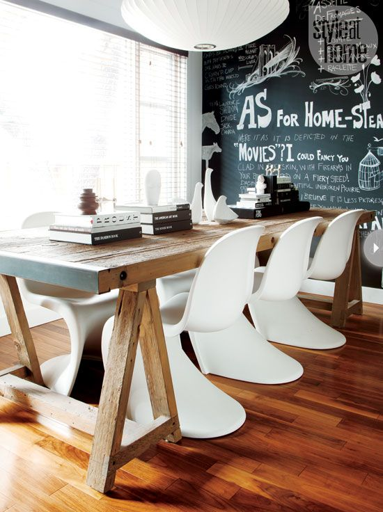rustic farmhouse table + Panton chairs + bubble pendant + chalkboard wall via style at home