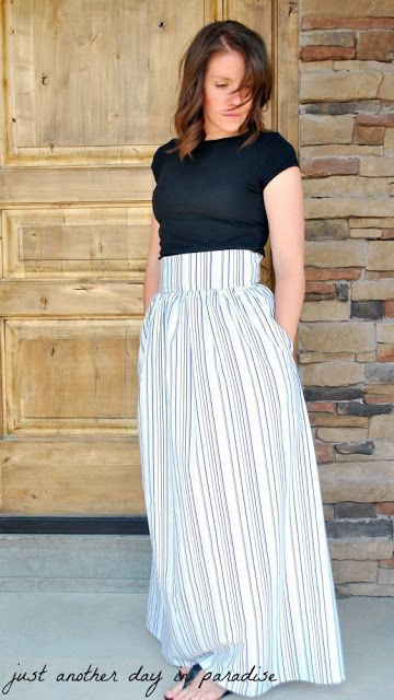 high waisted maxi skirt from a sheet with pockets