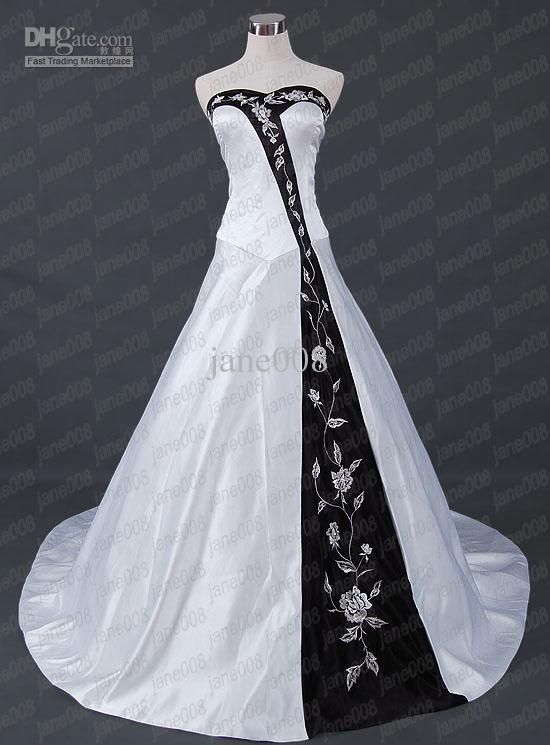 Wholesale Wedding Dress - Buy Jane008 White And Black A Line Spaghetti Straps Embroidery Wedding Dress/Formal Gowns, $137.5 | DHgate