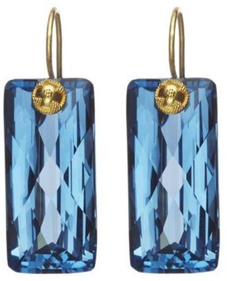 Baguette Cut London Blue Topaz Earrings
