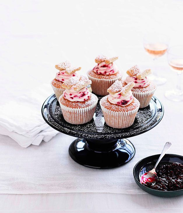 Australian Gourmet Traveller recipe for brown sugar butterfly cakes with raspberry cream.