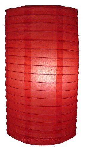 """8"""" Red Cylinder Paper Lantern by Asian Import Store, Inc.. $3.90. This rice paper cylinder paper lantern has wire ribbing and is beautiful. Use this lantern to decorate any party or house.  Dimensions: 8""""D x 14""""H  (All lanterns sold without cord, cord must be purchased separately)"""