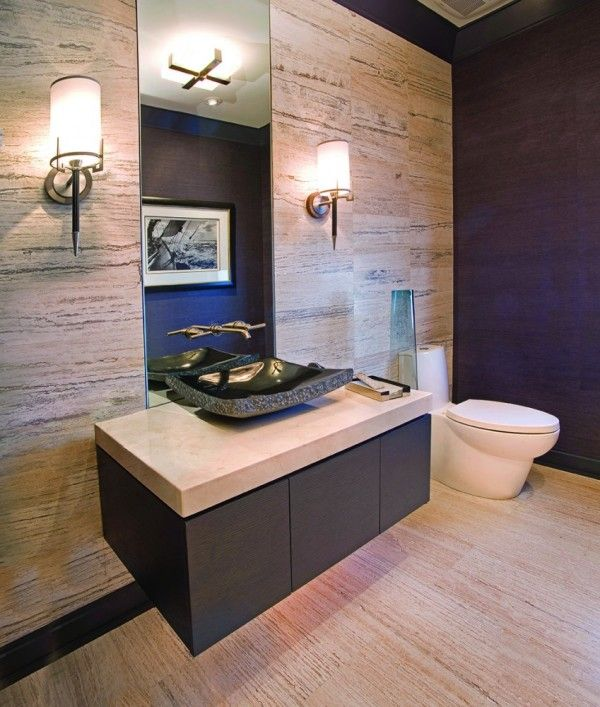 ideas aesthetic powder room vanities small spaces with floating vanity cabinet using cream marble countertops including rectangular black granite stone vessel sink closed to frameless mirror