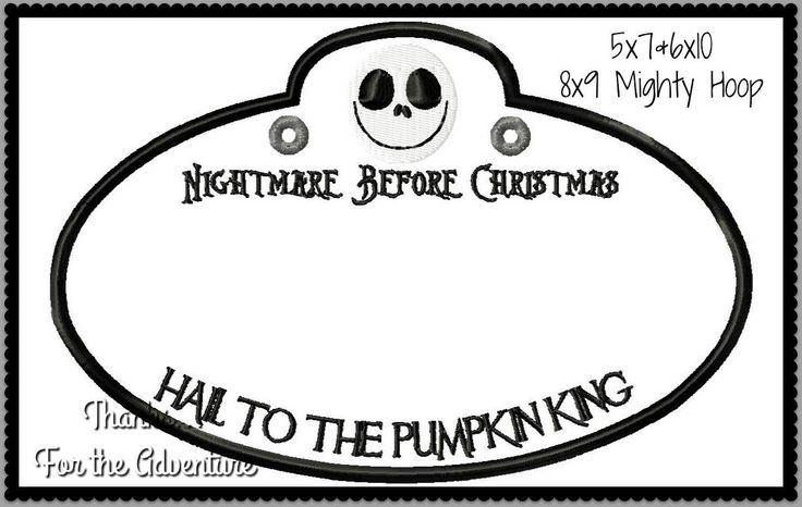 In The Hoop Disney Nightmare Before Christmas Cast Member Name Stroller Tag Applique Digital Embroidery Machine Design File Multiple Sizes by Thanks4TheAdventure on Etsy