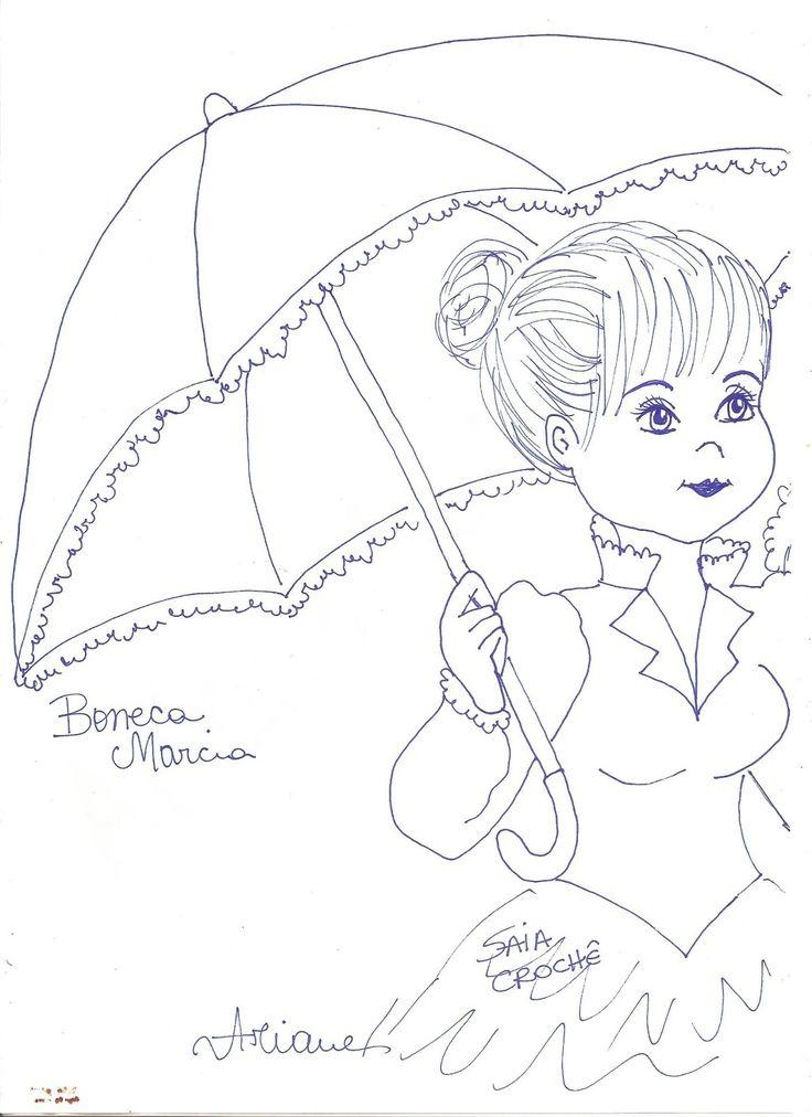 pintura em tecido boneca com vestido de croche_Pesquisa do Baidu