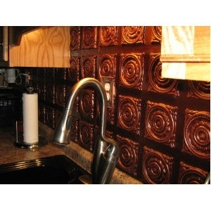 Faux Copper Plastic Ceiling Tiles as backsplash