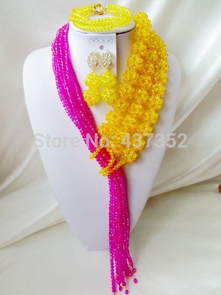 Гламурная! желтый Фуксия Розовый Хрустальный Шар Нигерийские Свадебные Африканские Бусы Комплект Ювелирных Изделий женщин первый выбор NC1329