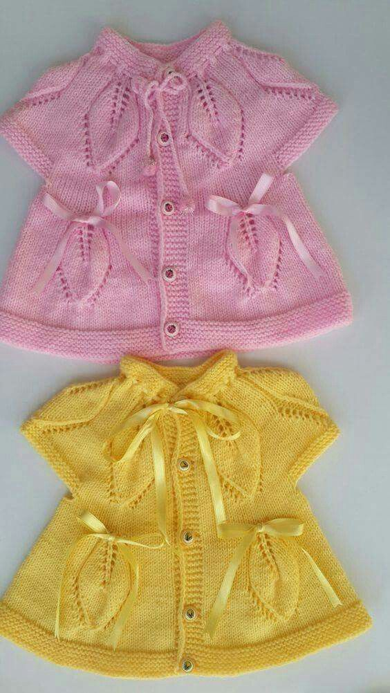 """[   """"baby vest knit baby dress knitted baby dress by KnittingAndYarns"""",   """"Baby vest (which I"""