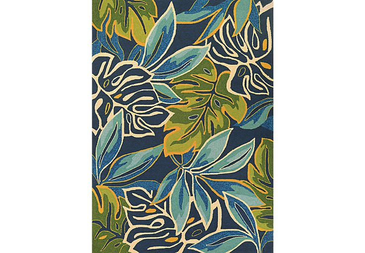 picture of Areca Palms Blue 5'6 x 8' Indoor/Outdoor Rug from  Furniture