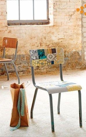 patch/vernis colle sur une chaise