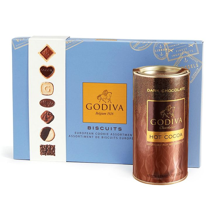 Godiva Chocolatier Dark Chocolate Hot Cocoa & Chocolate Biscuit Gift Set, Multicolor