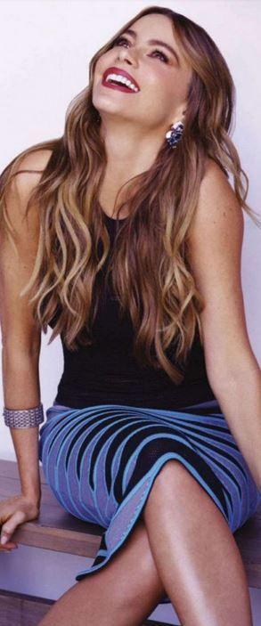 Who made Sofía Vergara's black top and purple print skirt?