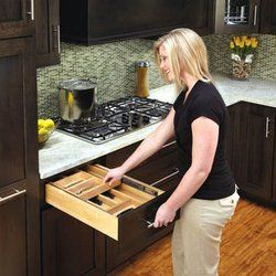 """Nested Double Cutlery Drawer for 21"""" Base Cabinet Insert Organizer by du Bois. $248.80. Require a Minimum 5"""" Tall Drawer Opening. Includes Pre-Assembled Push-to-Open 100Lb Full Extension Ball Bearing Slides. Made from 1/2"""" Prefinished Beautiful Solid Maple Dovetailed Drawer. For Use in 21"""" Base Cabinet Drawer. Double Tiered Cutlery Drawer Organizer. Create more drawer space with this double tiered cutlery drawer insert. The unique design provides two-tiers for do..."""