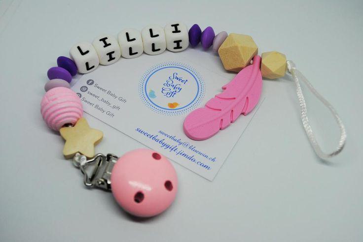 Schnullerkette mit Namen - Silicone Dummy Chain (BPA free) for Boy or Girl