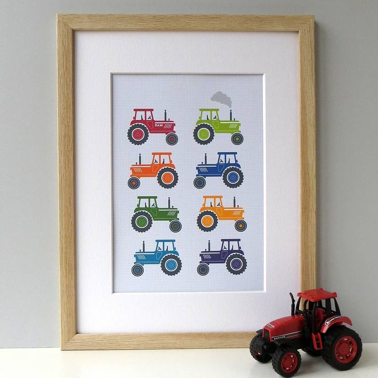 Personalised Bright Tractors Art Print