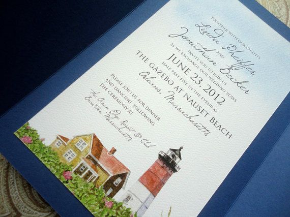 1 SAMPLE  Cape Cod Lighthouse Wedding Invitation by NooneyArt, $4.00