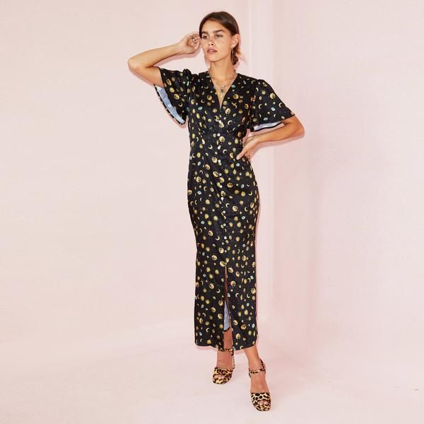 Black Lindos Stars Moon Dress Never Fully Dressed Moon Dress Dresses Woman Silhouette