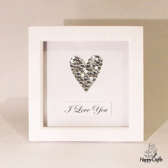 Sequin Heart Personalised Quote Picture Frame by HappyCraftsx