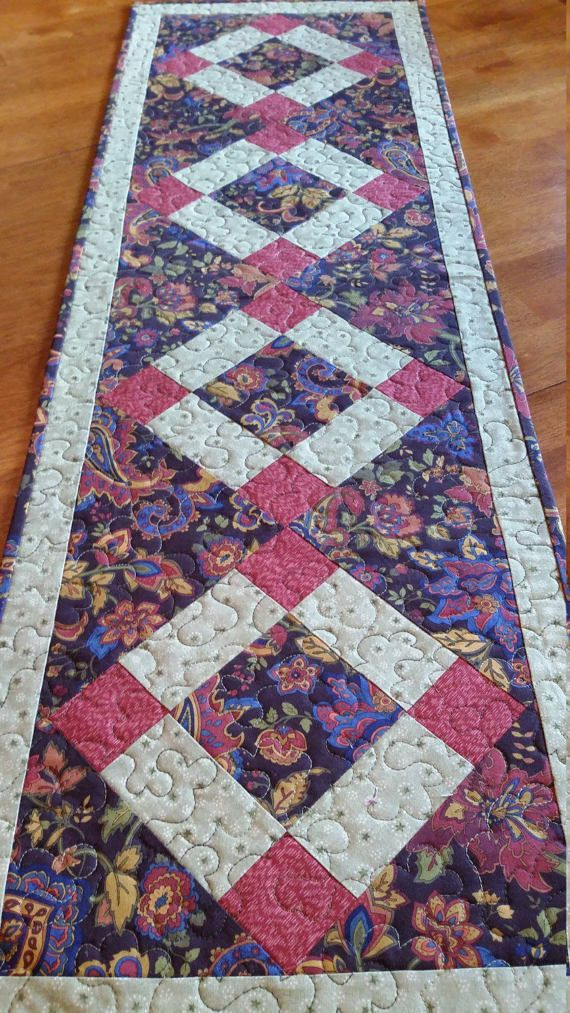 Quilted Paisley Table Runner Country Table Runner size 13 x