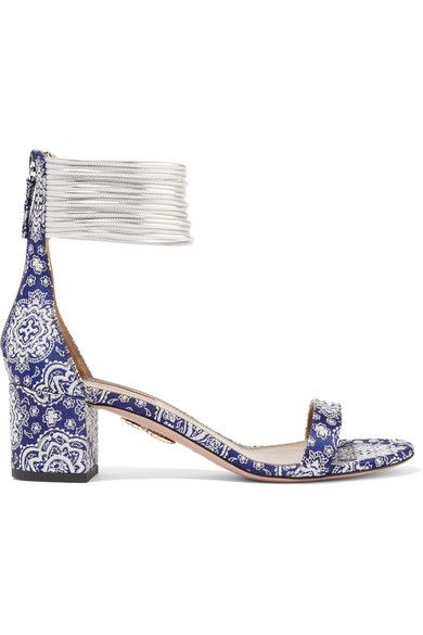 Aquazzura - Spin-me-around Leather-trimmed Printed Twill Sandals - Blue - IT