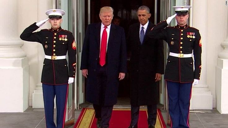 tNearly five months ago, President Donald Trump bid farewell to a grinning Barack Obama, waving as the military helicopter shuttling his predecessor into post-White House life got smaller and smaller.