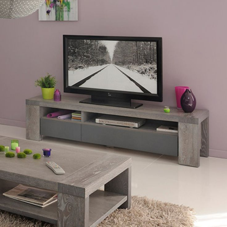 Parisot Bristol Grey Solid Oak TV Stand / Unit with 2 Drawers and Shelves - 0671BATV
