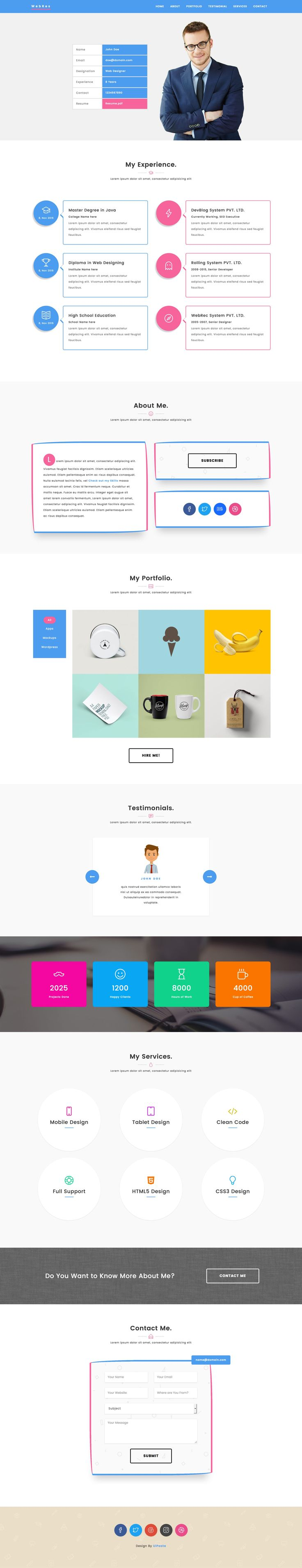'WebRes' is a FREE One Page HTML template in the style of an modern online résumé. All the standard CV sections apply but it's got added flavor with color bursts and unique styled drop-shadow boxes. Features include fixed header navigation, experience section, portfolio with big image pop-up gallery (plus category filter), testimonial slider, services, contact form and a neat added feature with a newsletter sign up modal.