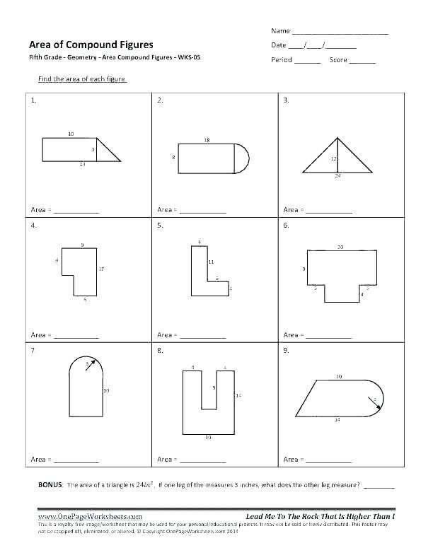 Complex Figures Worksheets area Triangle Worksheet 6th ...