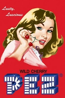 vintage ad for Wild Cherry Pez candy. It's amazing how sexy eating PEZ makes you.
