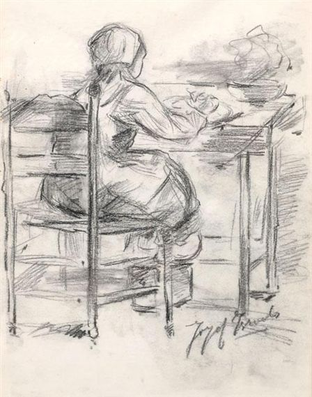 Jozef Israëls - A Girl at the Table; Medium: pencil and charcoal