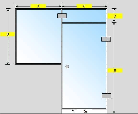 Saunan lasiseinä GlassHouse ovi + lisäpala + ikkuna saranat sivussa