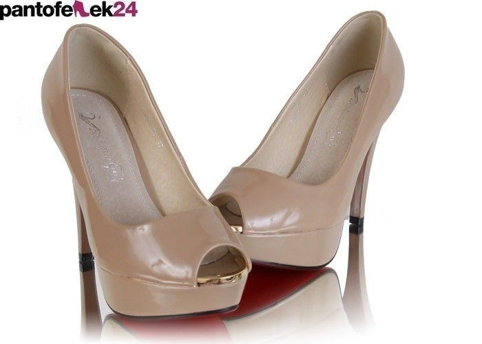 Beżowe szpilki ze złotymi elementami / Beige heels with golden elements / 68,90 PLN #beige #heels #fashion #elegant #trend