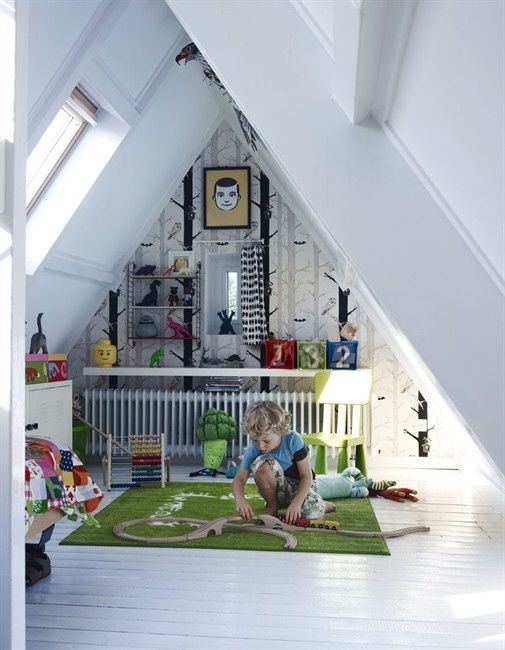 Attic room becomes a great play area for kids. Via designedforkids.co.uk