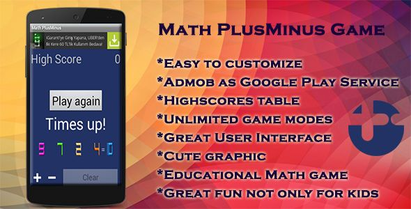 "Math PlusMinus Game . Math PlusMinus Game is an android game application. Plus or minus? is an original educational math game that will improve your Math skills in an entertaining way! You can practice mental calculation with this application. Use ""+"" or ""-"" arithmetic to improve your mental capacity and dexterity."