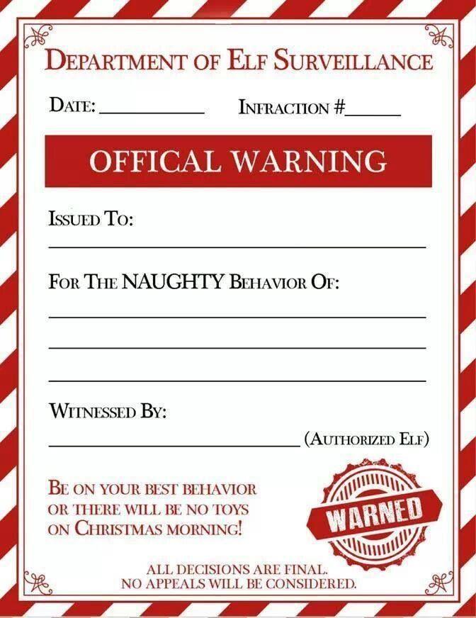 Santa naughty warning letter: Holiday Ideas, Holidays, Elf Warning ...