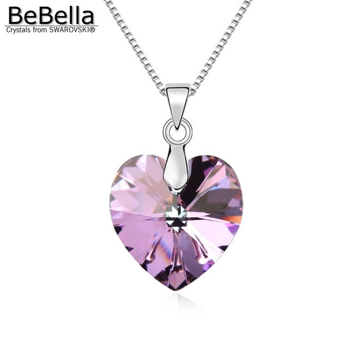 BeBella classic heart pendant necklace made with Swarovski Elements thin box chain for 2016 women Valentine's Day gift //Price: $9.95 & FREE Shipping //     #hashtag2