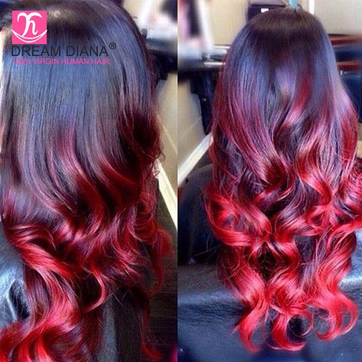 T1B/RED BLUE PURPLE Brazilian Body Wave With Closure Ombre Brazilian Hair With Closure 3 Bundles With Closure Ombre Human Hair