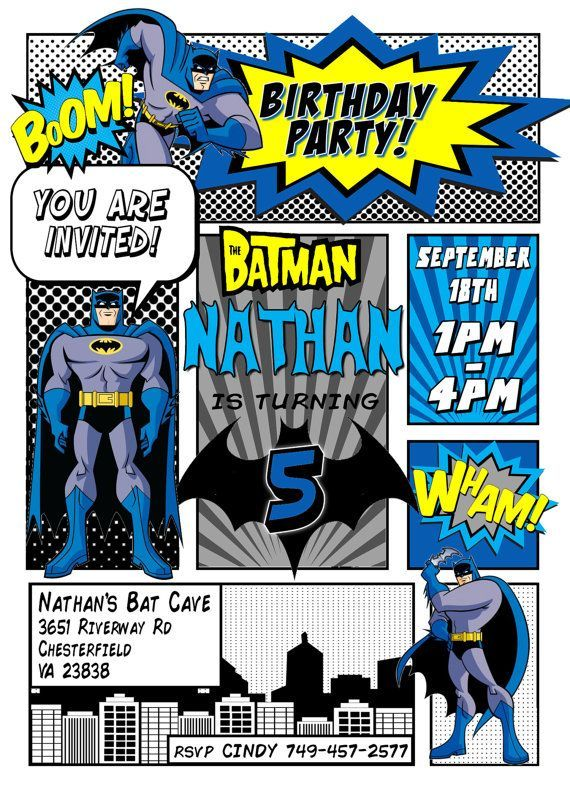 Batman Invitation Batman Birthday Party Comic Book