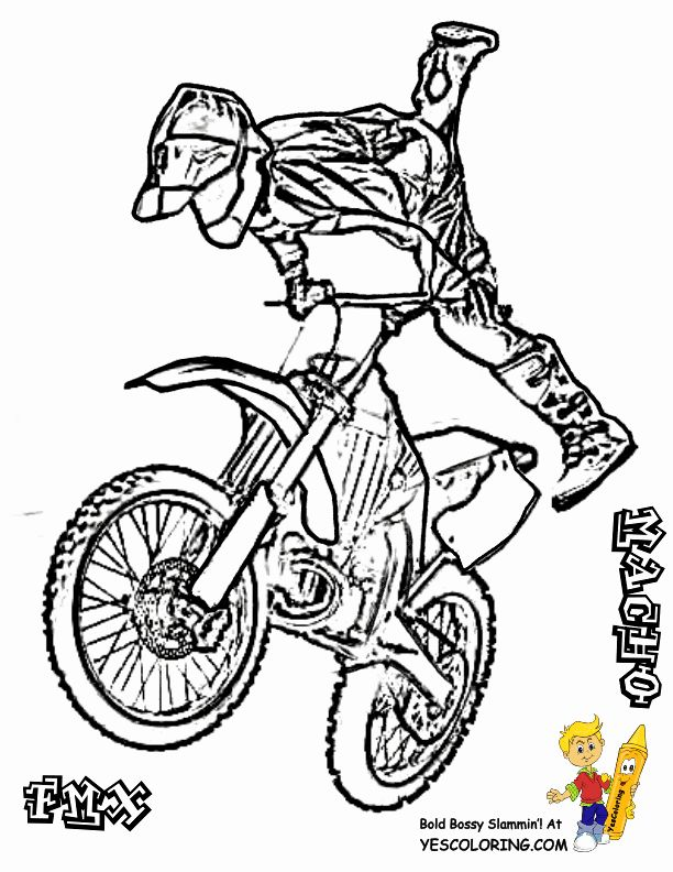 Dirt Bike Coloring Page New Rough Rider Dirt Bike Coloring Pages Dirtbike In 2020 Coloring Pages Whale Coloring Pages Avengers Coloring Pages