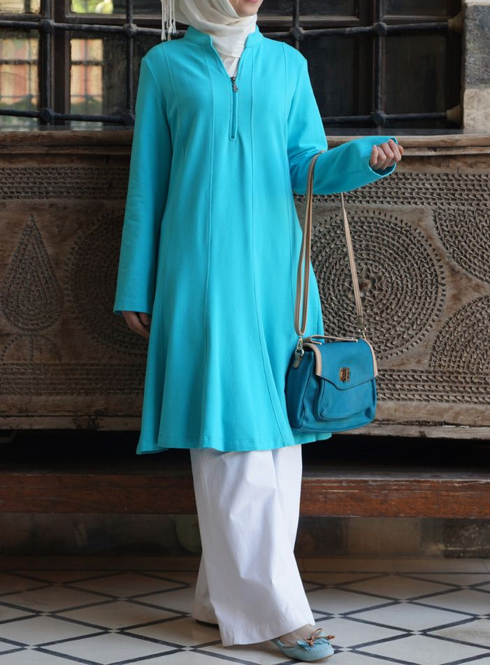 The perfect color for summer! SHUKR | Flared Cotton Jersey Tunic