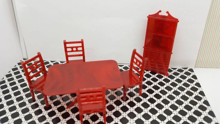 Allied Dining room Cherry red hard Plastic Dollhouse Traditional Style Art Deco table chairs Corner cabinet
