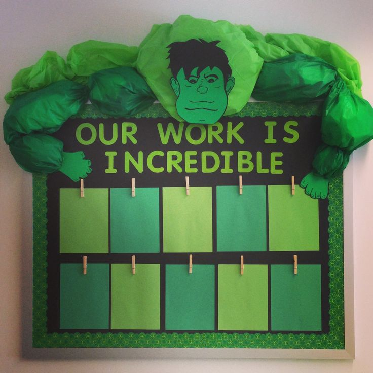 Superhero themed classroom bulletin board. The Hulk!!!